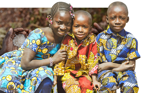three children smiling
